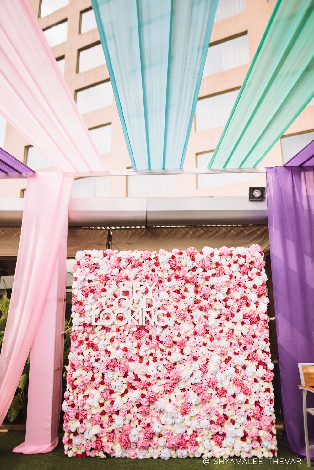 Photo of Floral wall decor idea with saying and drapes