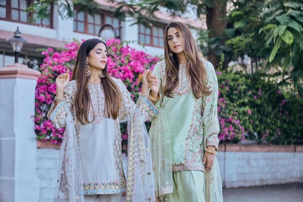 Photo of Bridesmaid outfit for mehendi with green and white options
