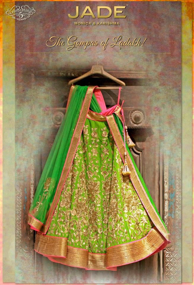 Photo of lime green lehenga with gold work