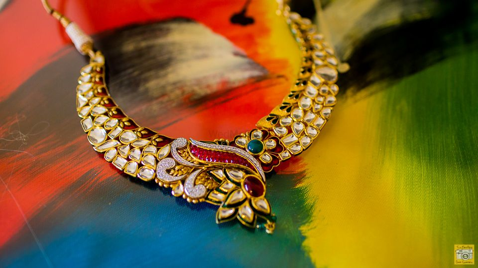 Photo of Gold Kundan Necklace with Ruby and Emerald Stones