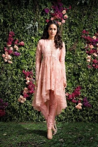 Photo of Light Pink high low churidar with blush pink