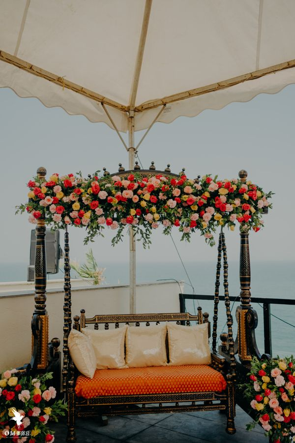 Photo of floral mehndi swing for bride