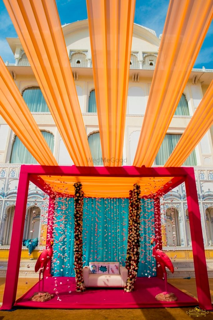 Photo of Pink flamingoes in a tented mehndi decor
