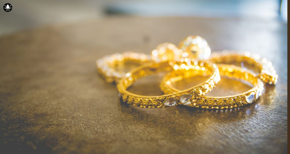 Photo of Gold Bangles with Kundan Stones