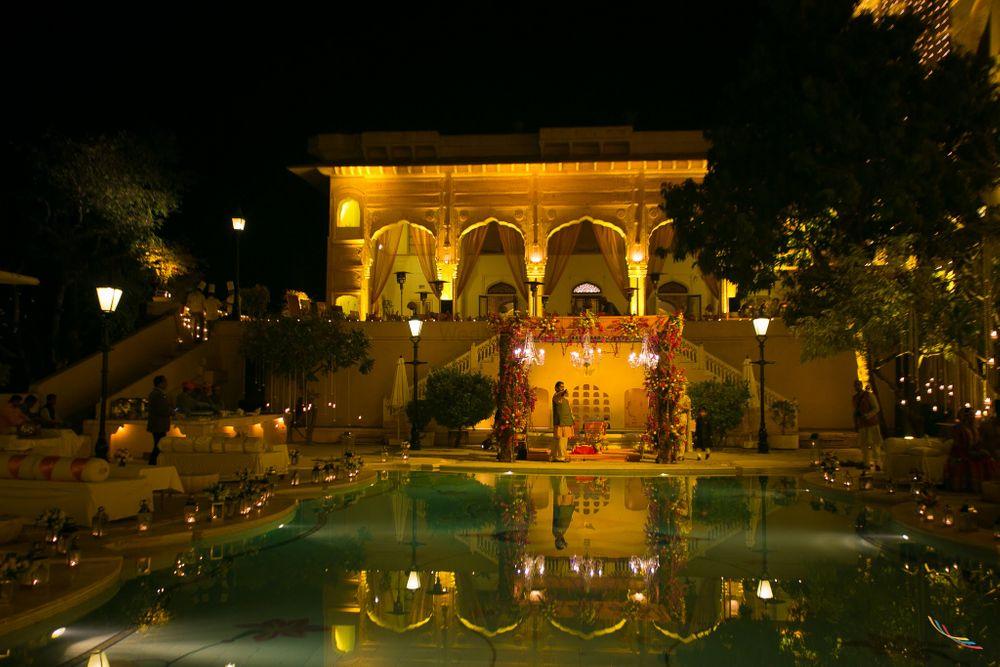 Photo of Royal Poolside Venue Mandap Decor