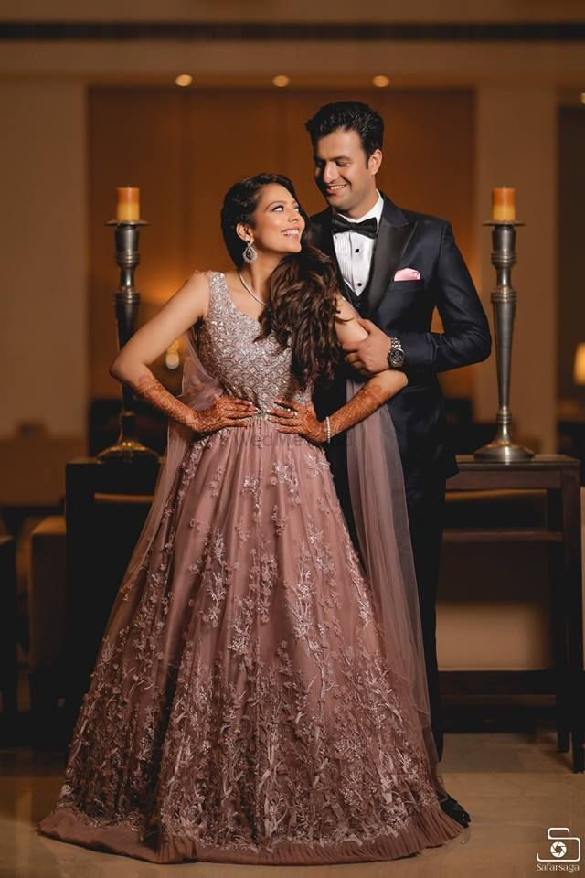 Photo of light pink elegant lehenga gown for cocktail or engagement