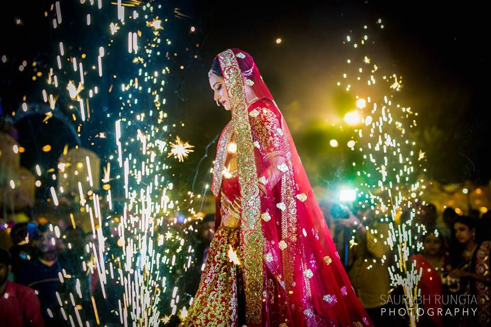 Photo of Bride Entrance with Fireworks
