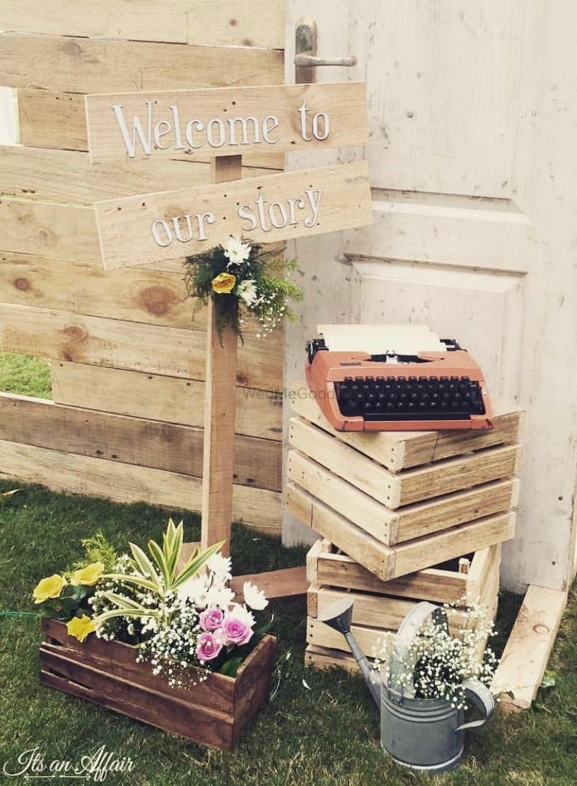 Photo of welcome rustic decor idea for wedding entrance