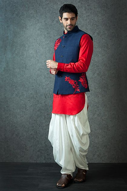Photo of Red and blue kurta with dhoti pants for mehendi