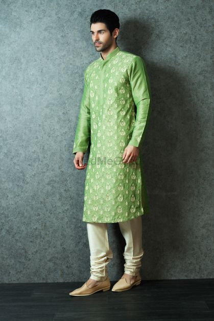 Photo of Pastel Green Kurta with Cream Embroidery