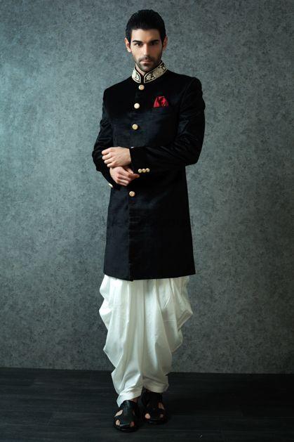 Photo of Black Velvet Bandhgala with White Pathani
