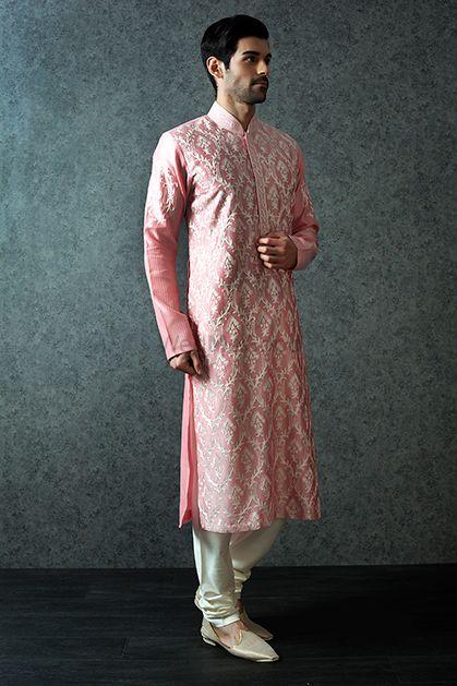 Photo of Pink threadwork sherwani with churidar