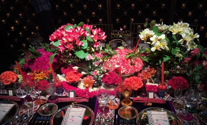 Photo of Floral table arrangement at reception dinner
