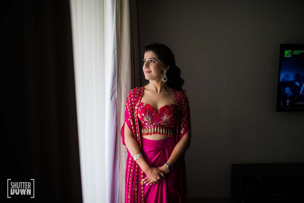 Photo of indo western mehendi outfit for bride