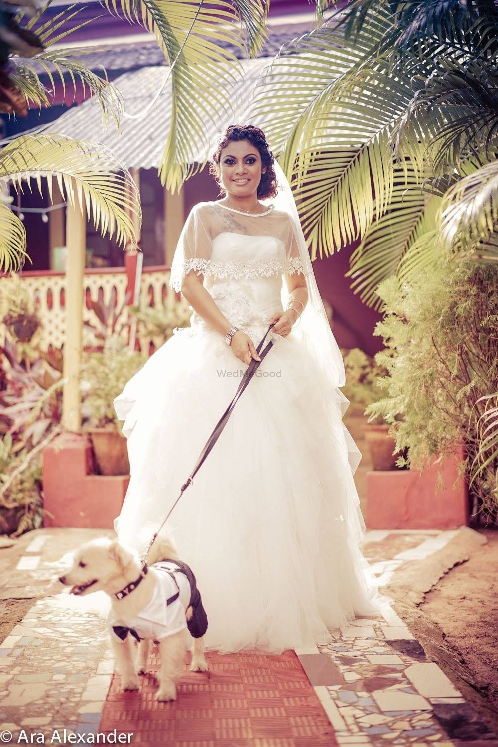 Photo of White Christian Bride with Pet Shot