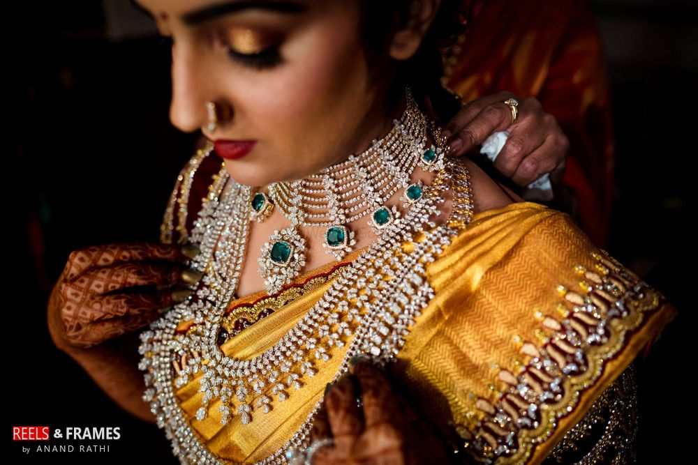 Photo of south indian bride in diamond jewellery
