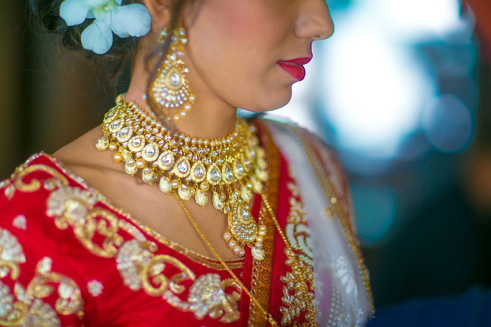Photo of Gold and Diamond Bridal Necklace and Earrings