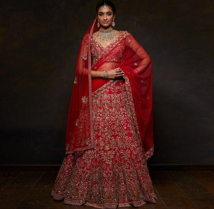 Photo of Heavy red bridal lehenga