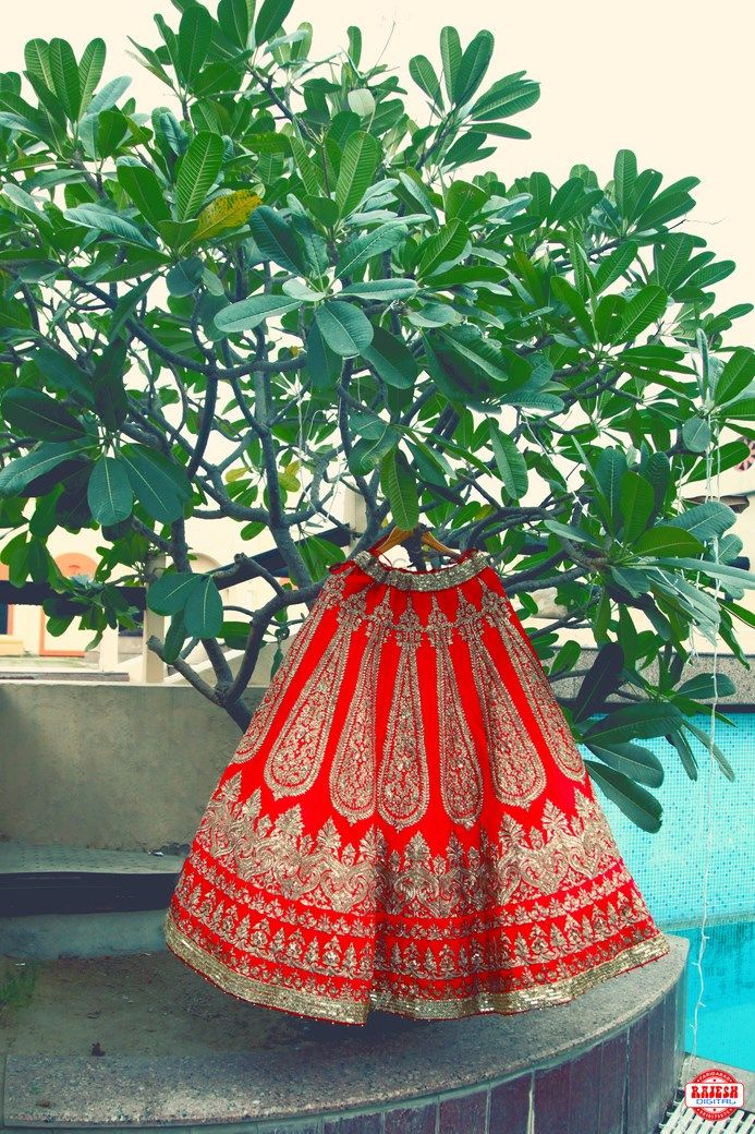 Photo of Red and Gold Heavy Lehenga on a Hanger