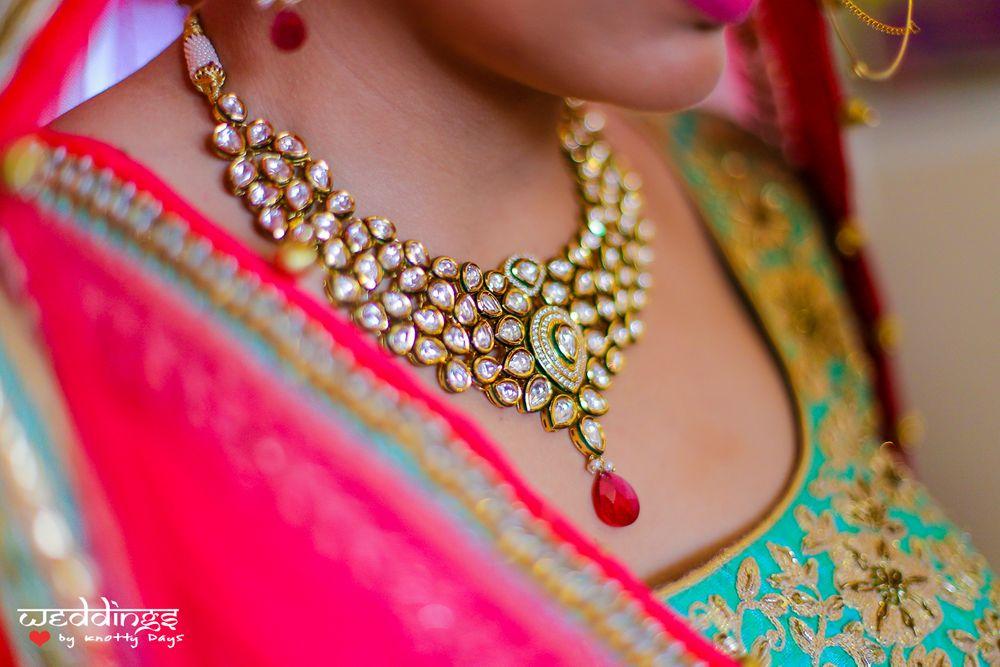 Photo of Polki Meenakari Necklace with Ruby Drops