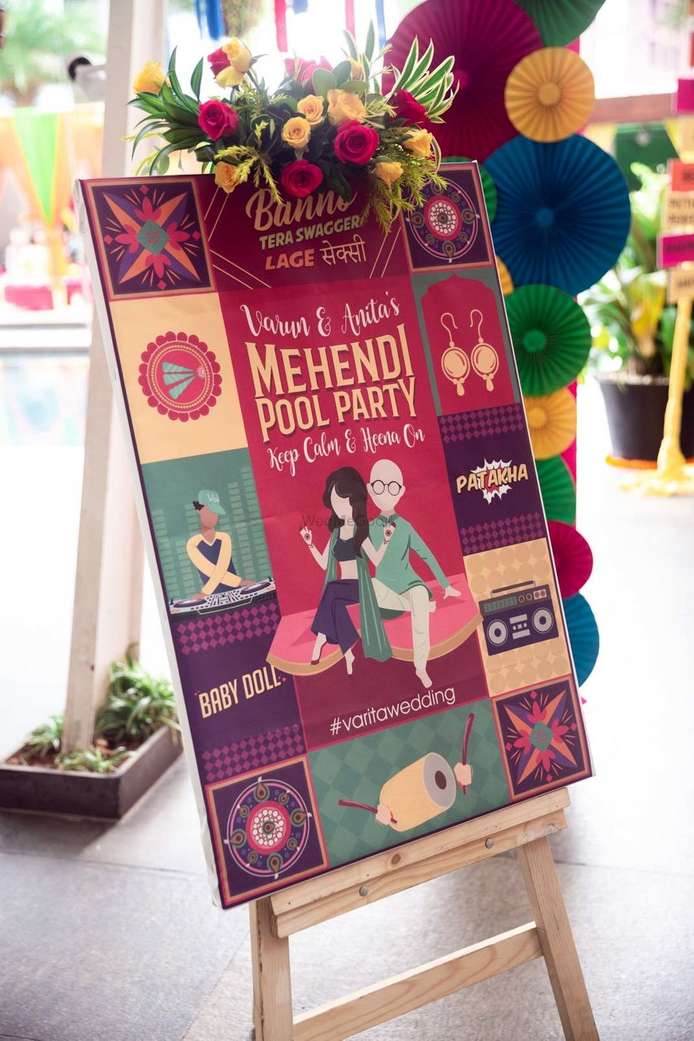 Photo of Entrance signage & decor for a Mehendi pool party
