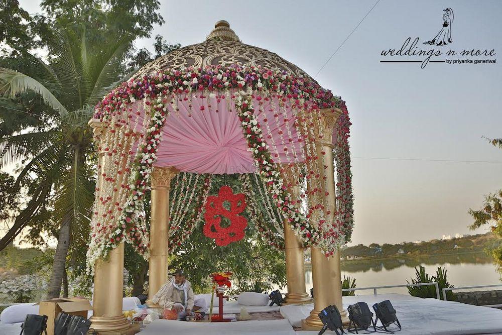 Photo of Pastel Pink Floral Mandap Decor