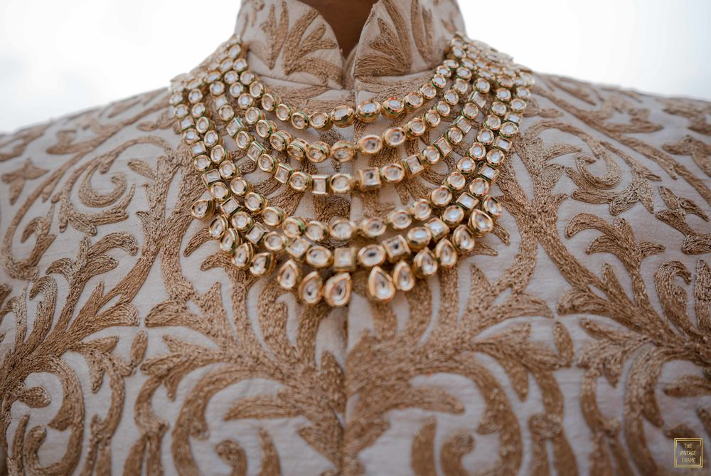 Photo of A multi-layered polki necklace for grooms