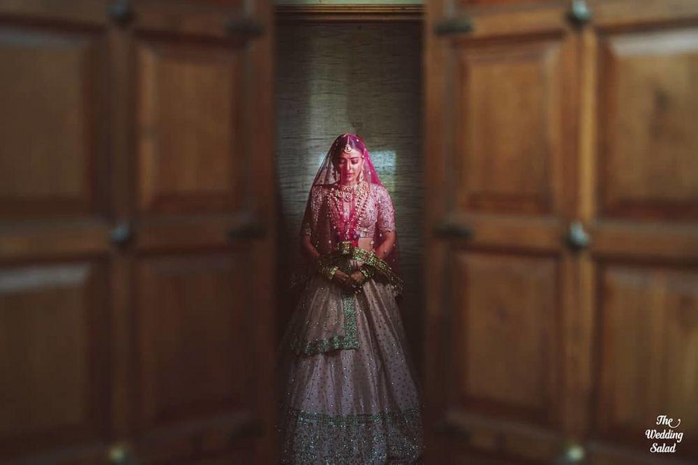 Photo of Beautiful bridal entry portrait .