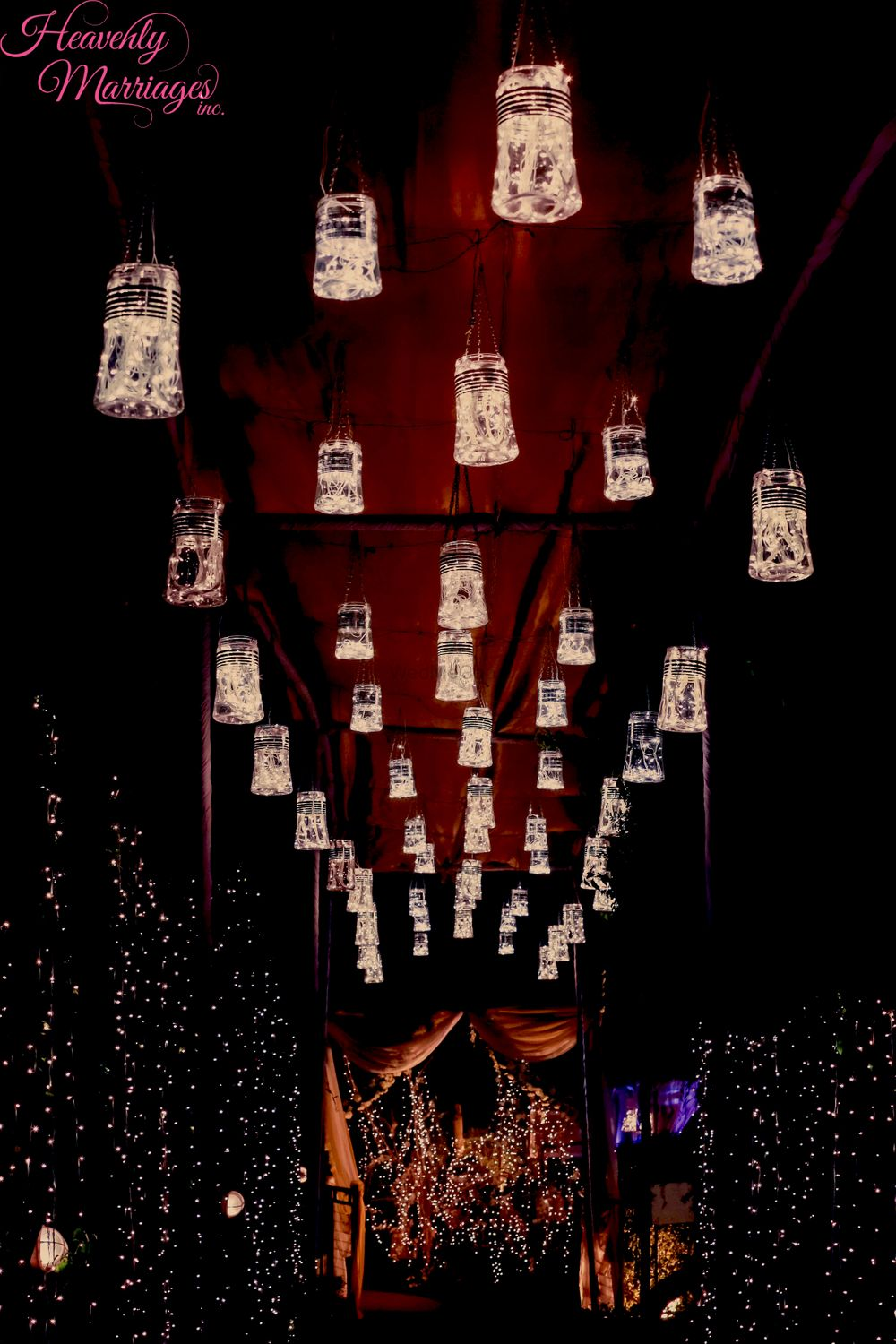 Photo of Hanging Fairy Lights in Bottle Decor