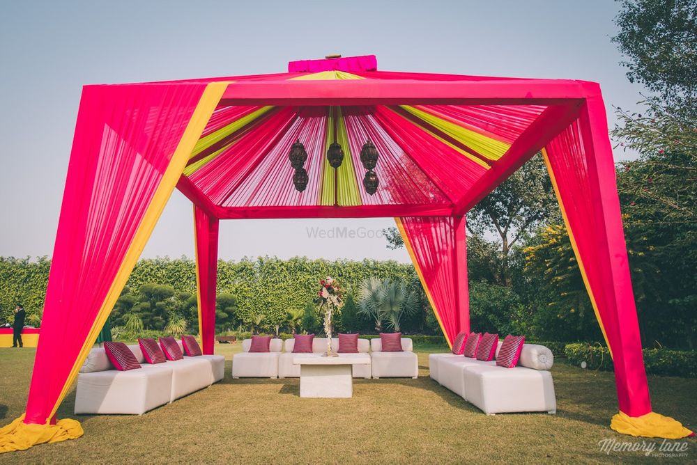 Photo of Pink and Yellow Tent Decor for Mehendi