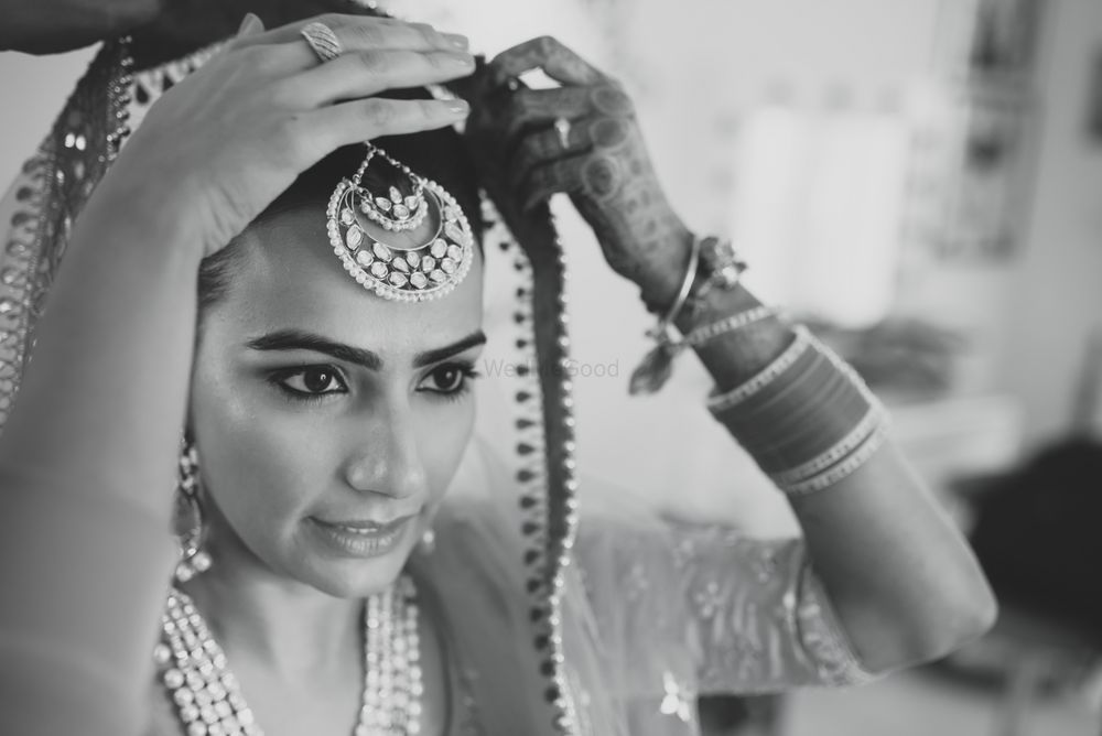 Photo of Bride Wearing Maangtikka Monochrome Shot
