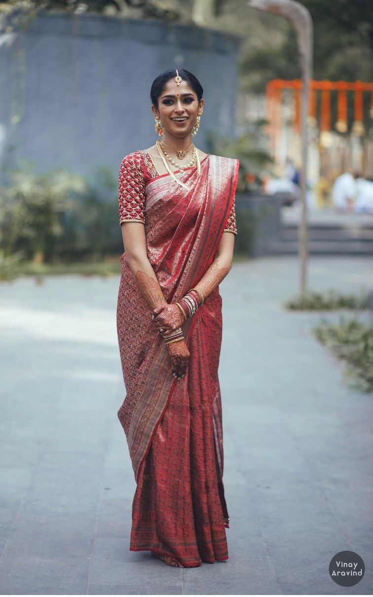 Photo of Bride in a stunning silk saree