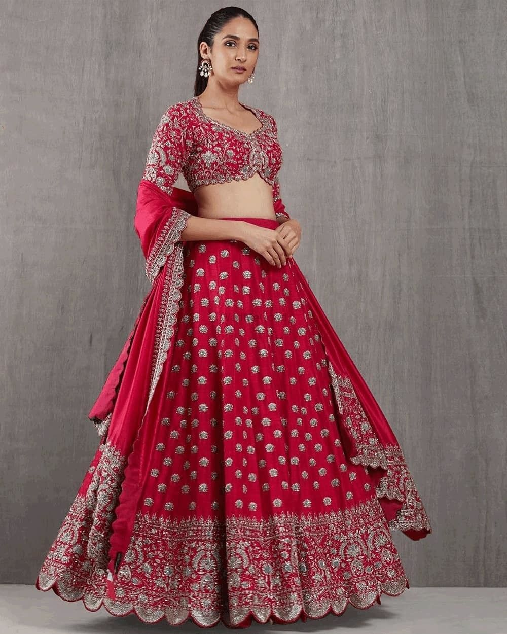Photo of Beautiful red bridal lehenga with silver work