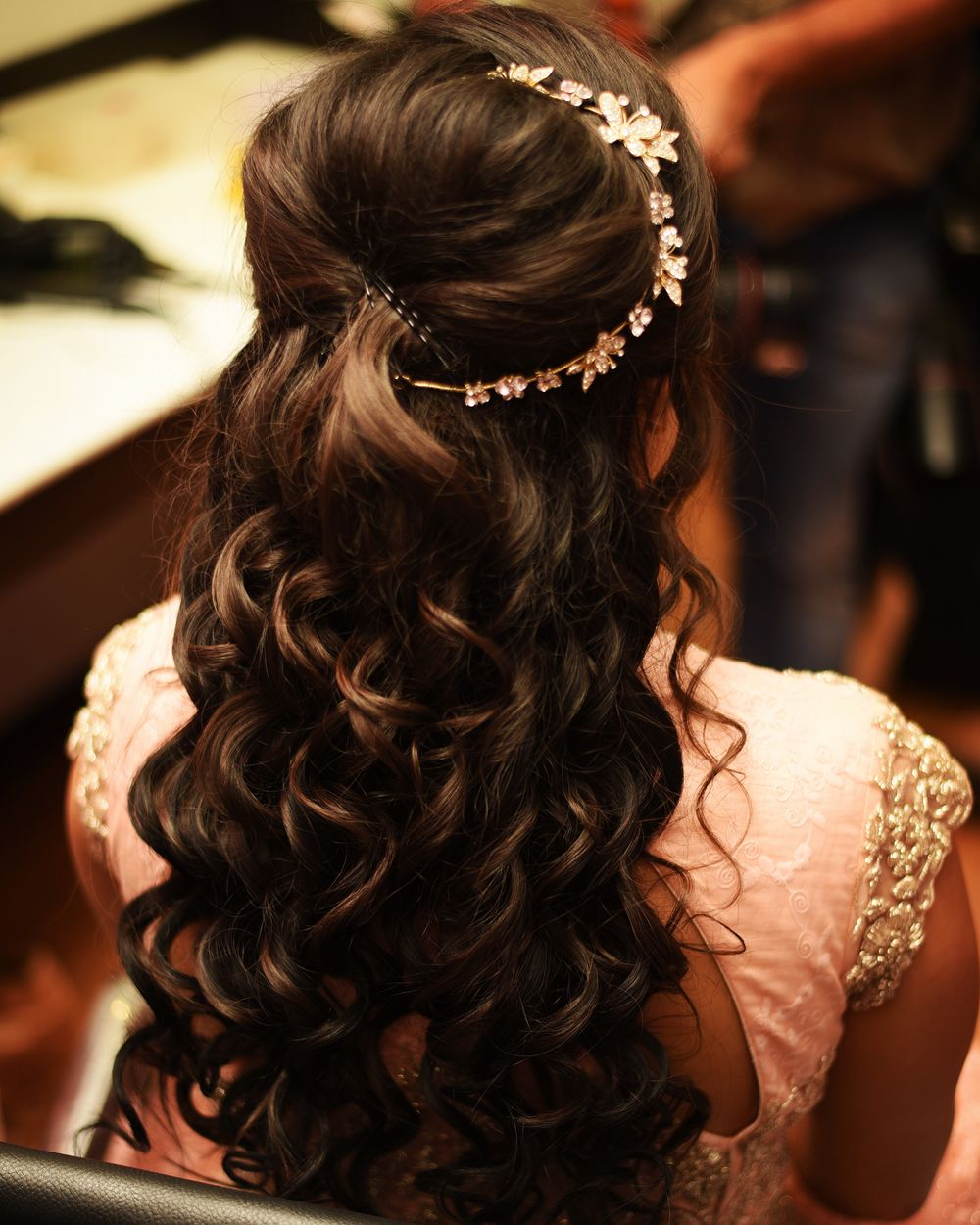 Photo of Engagement Hairstyle with Side Hair Ornament
