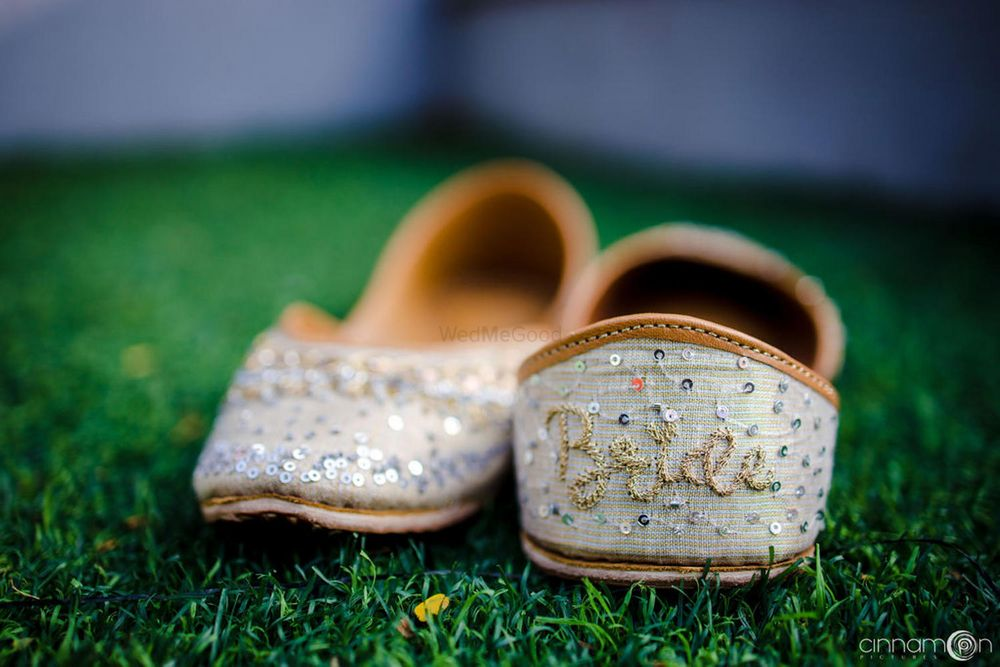 Photo of customised bridal juttis for the bride