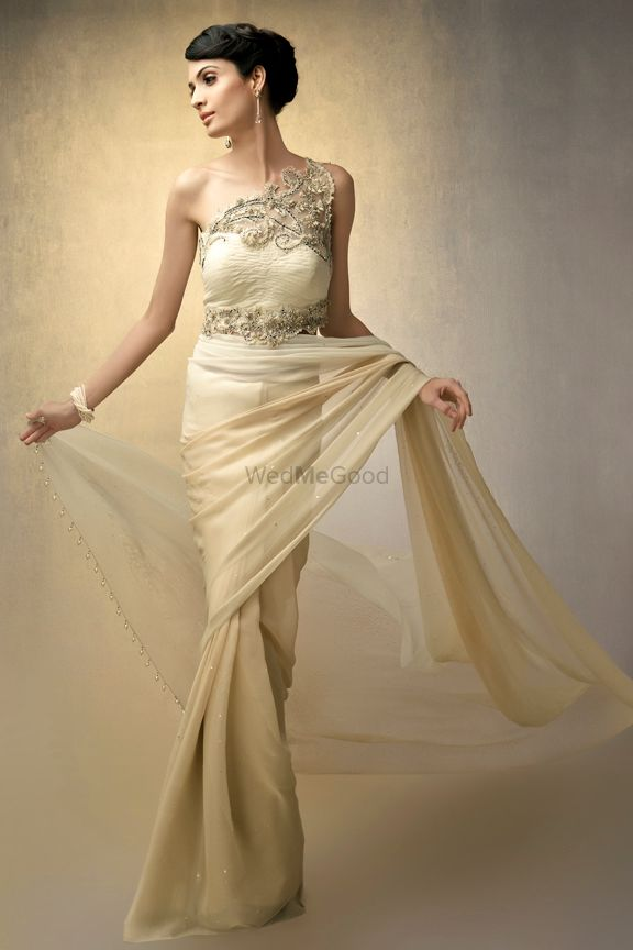 Photo of Cream Single Shoulder Saree Gown
