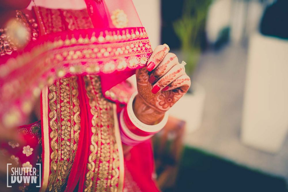 Photo of Hot Pink Dupatta with Gold Border