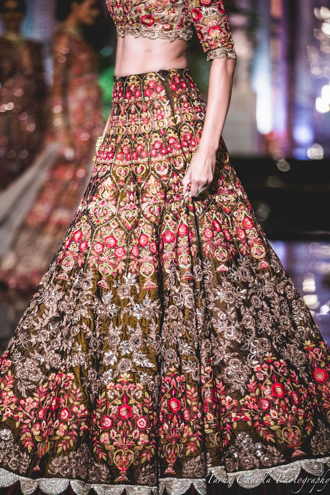Photo of Brown Lehenga with Silver Embroidery and Thread Work