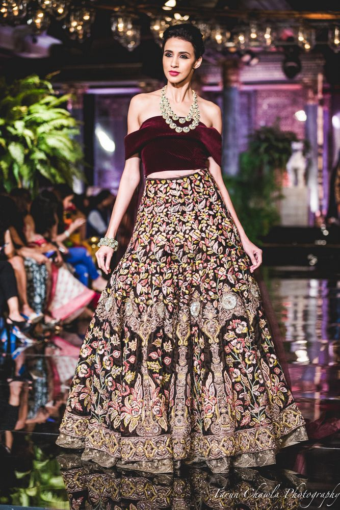 Photo of Brown Lehenga with Embroidery and Thread Work