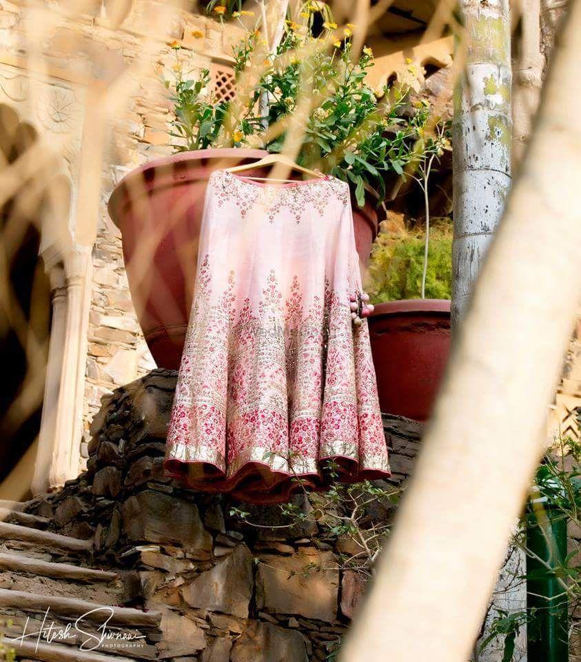 Photo of Lehenga photography light pink on hanger