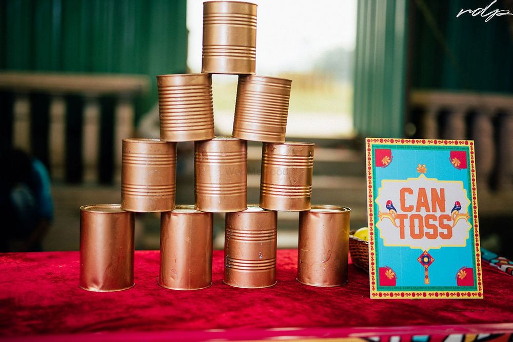 Photo of Can toss game for guests.