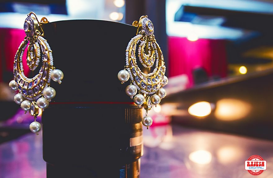 Photo of Gold and Silver Polki Earrings for Bridal Jewellery