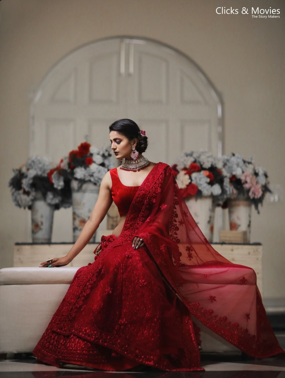 Photo of Bridal portrait in a red lehenga