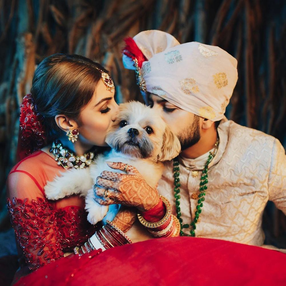 Photo of Cute couple portrait with a dog in the frame