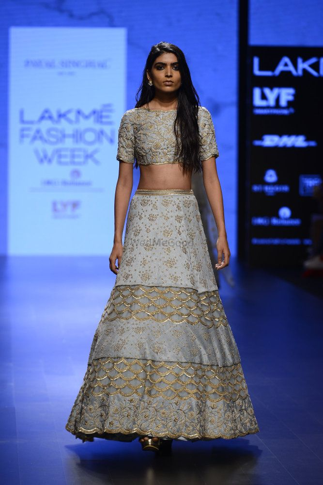 Photo of Powder blue crop top lehenga set