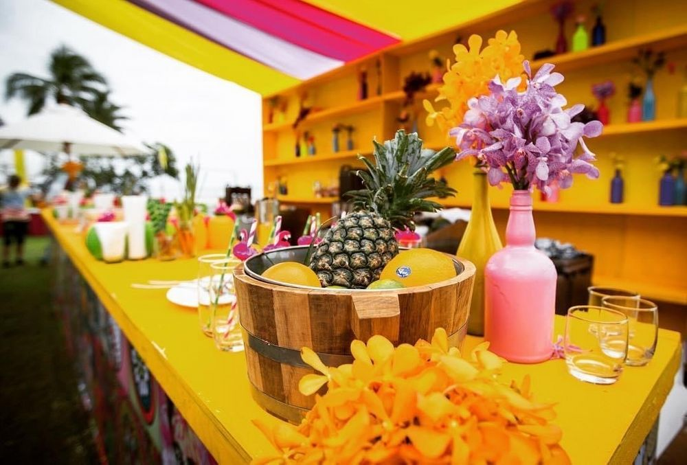 Photo of day wedding or mehendi bar decor idea with unique elements
