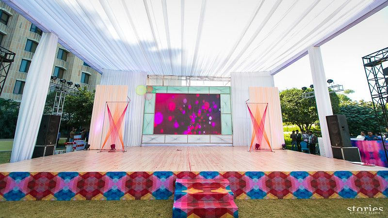 Photo of funky stage with LED backdrop and funky print in the front