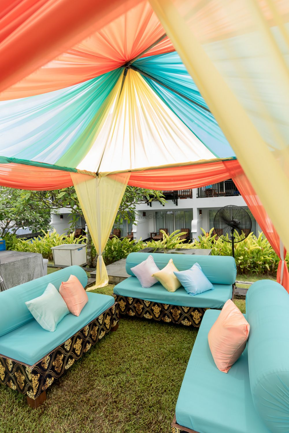 Photo of Colourful Tent Decor and Seating for Mehendi
