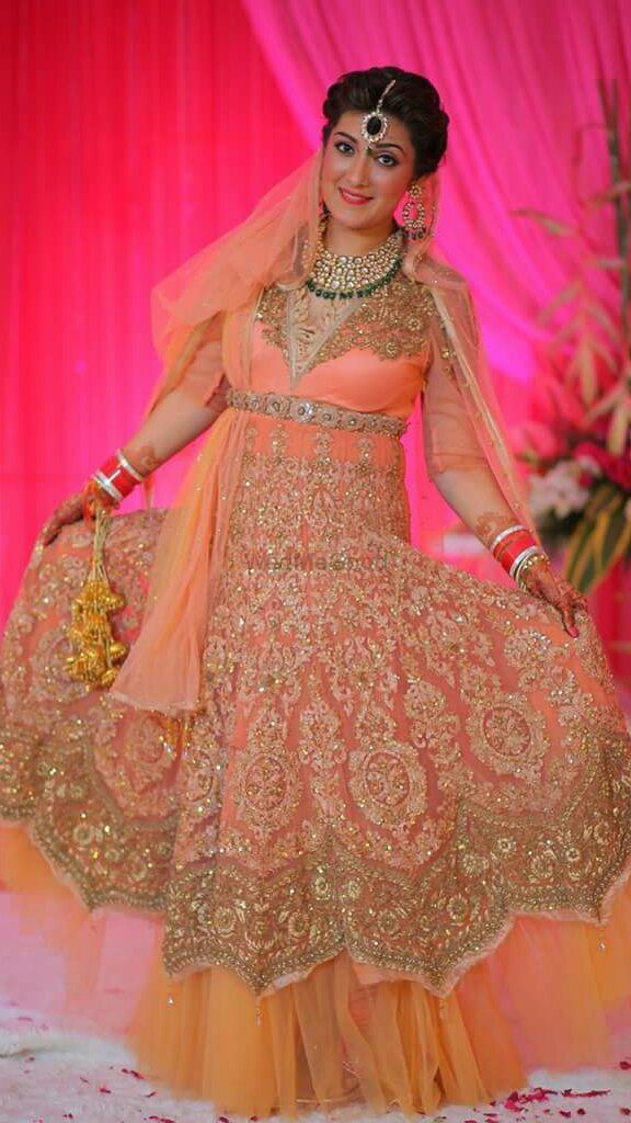 Photo of Peach Net Anarkali with Thread Work for Engagement