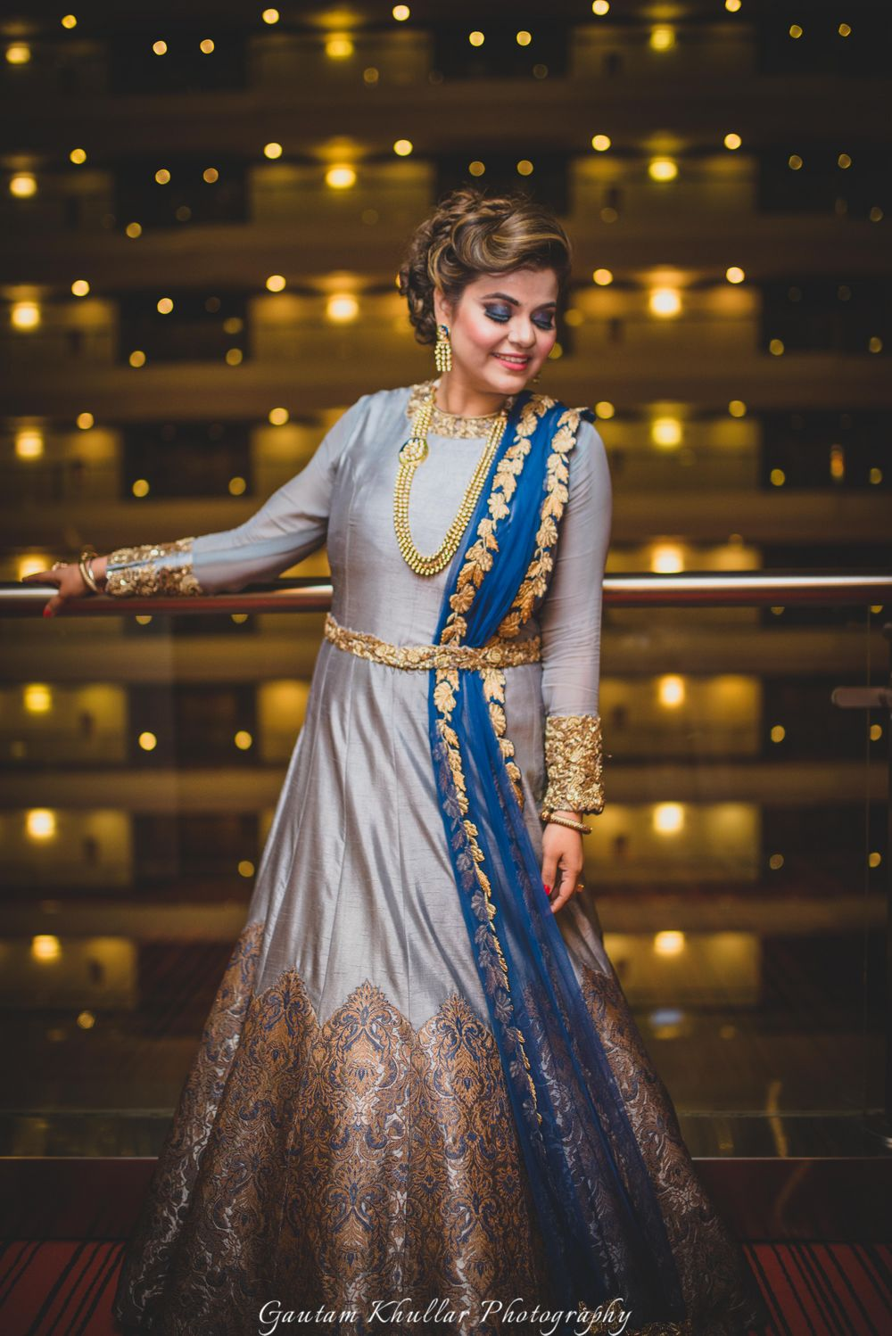 Photo of Silver grey anarkali full sleeves for reception